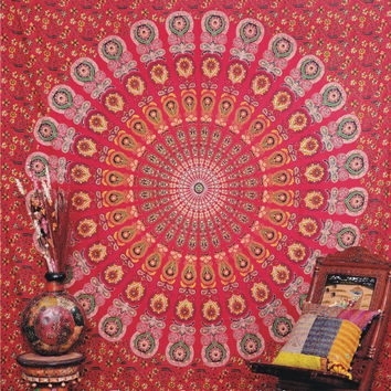 Indian Peacock Mandala Tapestry, Hippie Indian Tapestry, Bedspread, Peacock Feather Pattern Indian Tapestry - Beach Sheet - Hanging Wall Art