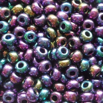 One pkg 24 grams Purple Iris Czech 6/0 large glass seed beads, size 6 Preciosa Rocaille 4mm spacer beads, large, big hole C5524