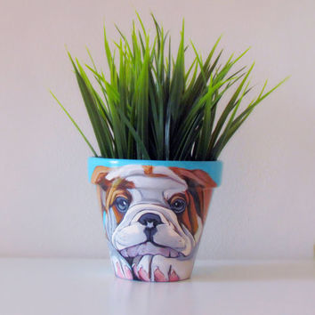 Dog flower pot, dog portrait, dog painting, hand painted flower pot