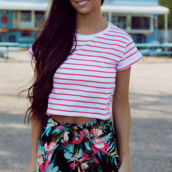 Sailin' On Crop Top - Coral