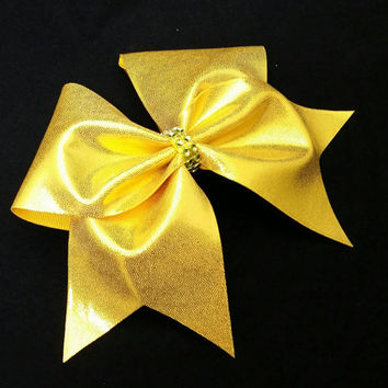 Cheer bow, Yellow cheer bow, cheerleading bow, cheerleader bow, cheerbow, softball bow, pop warner cheer bow, dance bow
