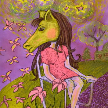 Art Print Folk Art Horse Headed Lady 8 x 10 by RenaissanceDays