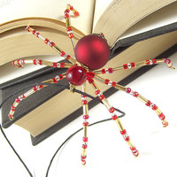 Red and Gold Beaded Christmas Spider Ornament - Legend of the Christmas Spider