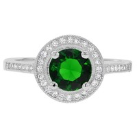 925 Sterling Silver Halo Bezel CZ & Green Simulated Emerald Lady Rings SZ 8