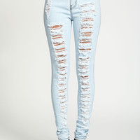 Light Wash Shredded High Waist Jeans