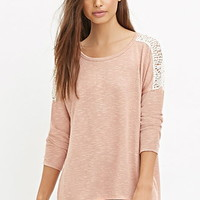 Crochet-Paneled Slub Knit Top
