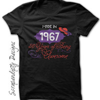 50th Birthday Shirt - Made in 1967 Shirt / Womens Birthday Tshirt / 50 Years of Being Awesome / Red Hat Tshirt / Over 50 Outfit Choose Year
