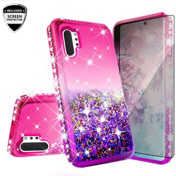 Samsung Galaxy Note 10 Case Liquid Glitter Phone Case Waterfall Floating Quicksand Bling Sparkle Cute Protective Girls Women Cover for Galaxy Note 10 W/Temper Glass -  (Hot Pink/Purple Gradient)