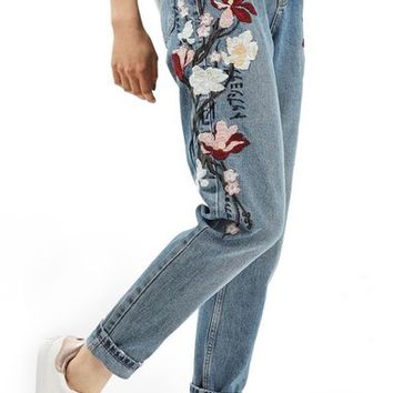 Topshop Mom Embroidered Jeans | Nordstrom