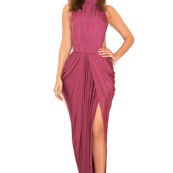 Clothing : Max Dresses : 'Vittoria' Raspberry Draped Silky Jersey Maxi Dress