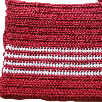 Crochet Shoulder Purse Mini Bag Purse Pouch OOAK Handmade Small Red with White stripes Crochet  Mini Bag