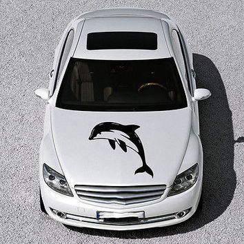 ANIMAL DOLPHIN CUTE FISH DESIGN HOOD CAR VINYL STICKER DECALS ART MURAL SV1577