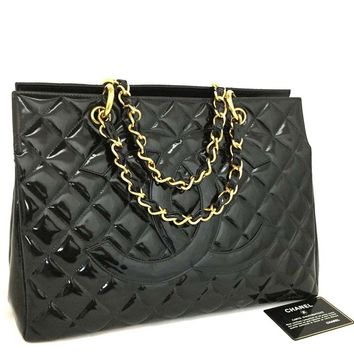 CHANEL Quilted Matelasse CC Logo Patent Leather Chain Tote hand Bag Black /k154