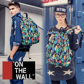 VansFashion Personality printing large capacity backpack bag leisure travel boom Ghost printing 7 style