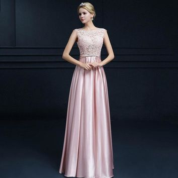 Women Long Evening Dress Satin Lace Bridemaid Wedding Dresse Crystal Sashes Bow Party Gown Dress