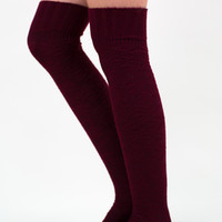 Over the Knee Sweater Socks, Maroon