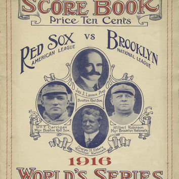 1916 World Series Brooklyn Dodgers vs Boston Red Sox Vintage Baseball Art Program Score Card Robins Babe Ruth