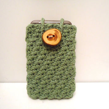 Cotton Cell Phone Cozy, Rustic Wood Button