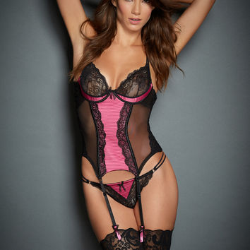Jenna Quilted Satin & Lace Corset