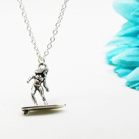Surfer Necklace - Surfer Charm Necklace - Surfer Pendant - Surfer Girl Charm - Surfboard Necklace - Surfboard Charm - Surfing Necklace