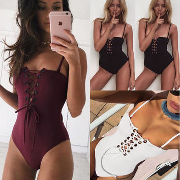 Crisscross Strappy Strap One Piece Swimwear Bikini Swimsuit