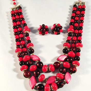 Red Necklace And Earring Set, Vintage Jewelry Set, 1950's, Mid-Century