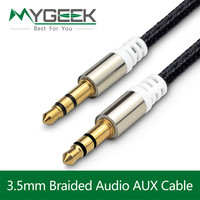 MyGeek 3.5mm jack aux Cable for iPhone 6 Samsung mp3 3.5 mm Car Audio Cable wire Colorful Nylon Headphone Beats Speaker AUX Cord