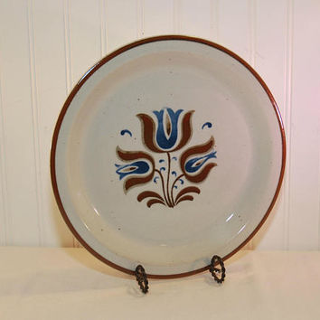 Vintage Century Corum Ceram Stoneware Platter, Elsenore Pattern (c. pre-1998) Vintage Japan China, Blue and Brown Tulip Pattern, Rustic