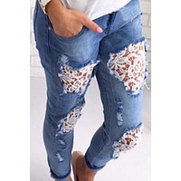 Destroyed Ripped Distressed Slim Denim Lace Jeans