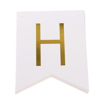 1 Set Happy Birthday White & Gold Paper Garland Flags Bunting Banner