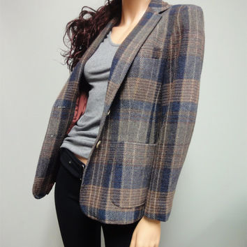 Vintage 70s Schoolboy Blazer in Grey and Tan Wool Plaid by Evan-Picone