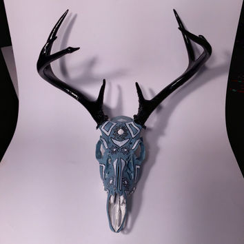 Hand painted deer skull