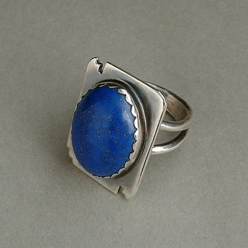 CLARENCE BAILON Vintage Native American Ring LAPIS Lazuli Solid Sterling Silver 12.7 Grams Size 8 Hallmarks c.1980's