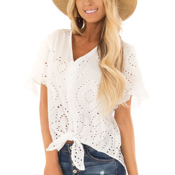 White Eyelet Detail Sheer Top with Front Tie