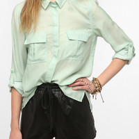 Silence & Noise Silky Button-Down Popover Shirt