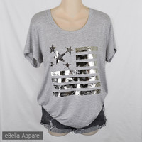 American Flag w/ Paisley, Womens Heather Grey Short Sleeve Plus Size Shirt