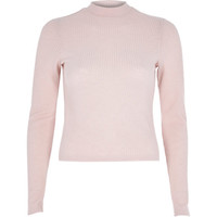 River Island Womens Light pink ribbed long sleeve high neck top