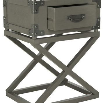 Dunstan Accent Table With Storage Drawer Grey