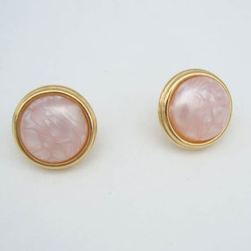 Monet Pink Marbled Moonglow Lucite Post Earrings Vintage Jewelry