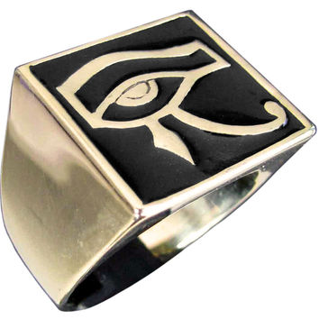 Egyptian Eye of Horus Ring Udjat Eye of Ra In Bronze with Black Enamel