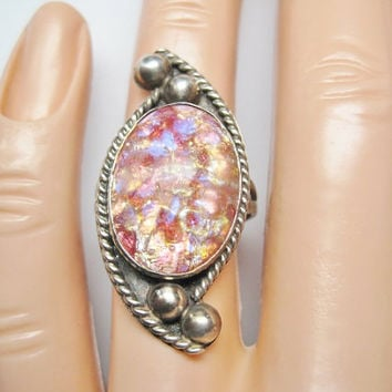 Vintage Harlequin Foil Opal Ring Sz 6 Mexican Sterling Dragons Breath