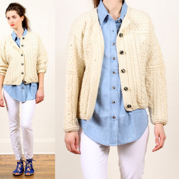 Irish knit sweater cardigan // cream fisherman cable knit // oversized chunky wool // Aran // cropped // s m l
