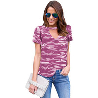 Fashion Camouflage Women T-shirts Deep V Neck Summer T Shirt Female Tops Hollow Out Sexy Tee Shirt Female Camo Undershirt Z15