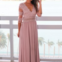 Taupe Gray V-Neck Maxi Dress with Mesh Embroidered Sleeves