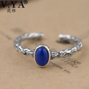 V.YA Retro Style Branches Rings Real 925 Sterling Silver Blue Color Natural Stone Fi