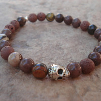 Men's Skull Bracelet,Brown Lava Stone,Zebra Jade and Adventurine