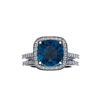 Diamond Halo Wedding Set 14K WhiteGOld with 9mm Round Cut London Blue Topaz Center-V1060
