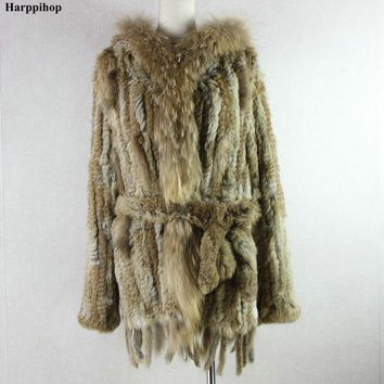 HARPPIHOP*2018 free shipping lady knitted Real rabbit fur coat/ jacket/ outware with hood women belt long with tassels