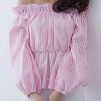 Pink Plaid Off-Shoulder Slit Puff Sleeve Ruffled Blouse