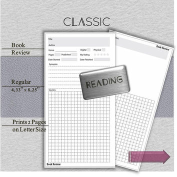 Planner refill pages (chicsparrow, happiedori). Classic Series Book Review pages for writing journal notebook. Regular size readers digest